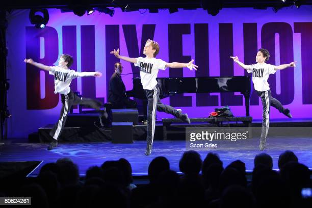 """Actors Trent Kowalik, Kiril Kulish, and David Alvarez perform during a press conference to announce the stars of the upcoming Broadway show """"Billy..."""