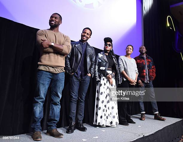 Actors Trevante Rhodes and Andre Holland actresses Janelle Monae and Naomie Harris and actor Mahershala Ali attend a screening of 'Moonlight' during...