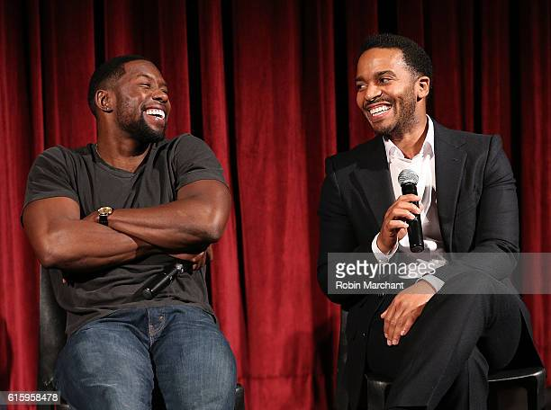 Actors Trevante Rhodes and Andre Holland attend The Academy of Motion Picture Arts and Sciences hosts an Official Academy screening of MOONLIGHT at...