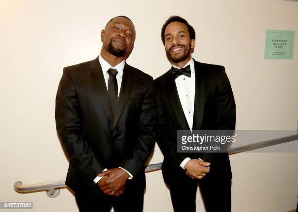 Actors Trevante Rhodes and Andre Holland backstage during the 89th Annual Academy Awards at Hollywood Highland Center on February 26 2017 in...