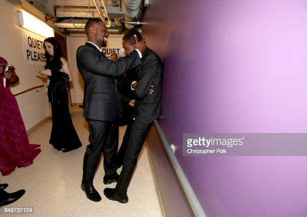 Actors Trevante Rhodes and Ashton Sanders backstage during the 89th Annual Academy Awards at Hollywood Highland Center on February 26 2017 in...