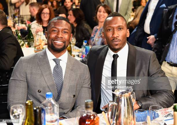 Actors Trevante Rhodes and Mahershala Ali attend the 2017 Film Independent Spirit Awards at the Santa Monica Pier on February 25 2017 in Santa Monica...
