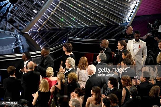 Actors Trevante Rhodes and Mahershala Ali, producer Adele Romanski, writer/director Barry Jenkins, producer Jeremy Kleiner, actress Naomie Harris,...