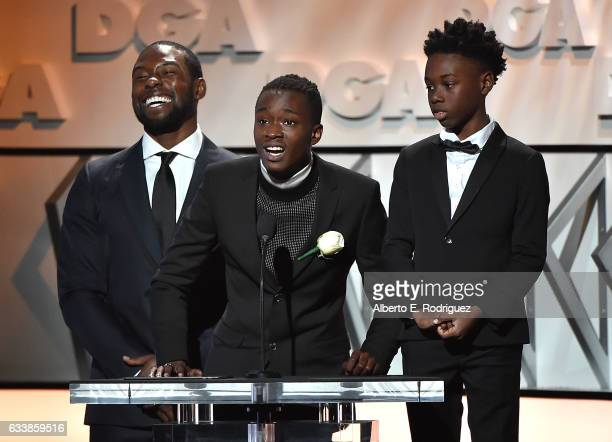 Actors Trevante Rhodes Ashton Sanders and Alex R Hibbert onstage during the 69th Annual Directors Guild of America Awards at The Beverly Hilton Hotel...