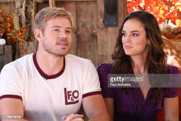"""Actors Trevor Donovan and Erin Cahill visit Hallmark Channel's """"Home & Family"""" at Universal Studios Hollywood on October 08, 2019 in Universal City,..."""