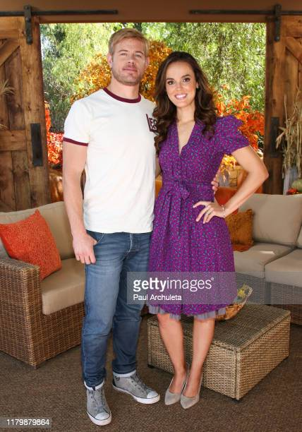 Actors Trevor Donovan and Erin Cahill visit Hallmark Channel's Home Family at Universal Studios Hollywood on October 08 2019 in Universal City...
