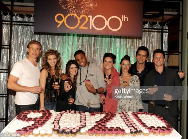 Actors Trevor Donovan AnnaLynne McCord Shenae Grimes Tristan Wilds Jessica Stroup Jessica Lowndes Michael Steger and Matt Lanter pose at the 100th...