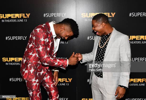 Actors Trevor Jackson and Jason Mitchel attend Columbia Pictures Superfly Atlanta special screening on June 7 2018 at SCADShow in Atlanta Georgia