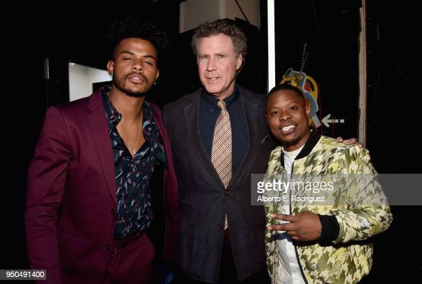 Actors Trevor Jackson Will Ferrell and Jason Mitchell attend the CinemaCon 2018 Gala Opening Night Event Sony Pictures Highlights its 2018 Summer and...