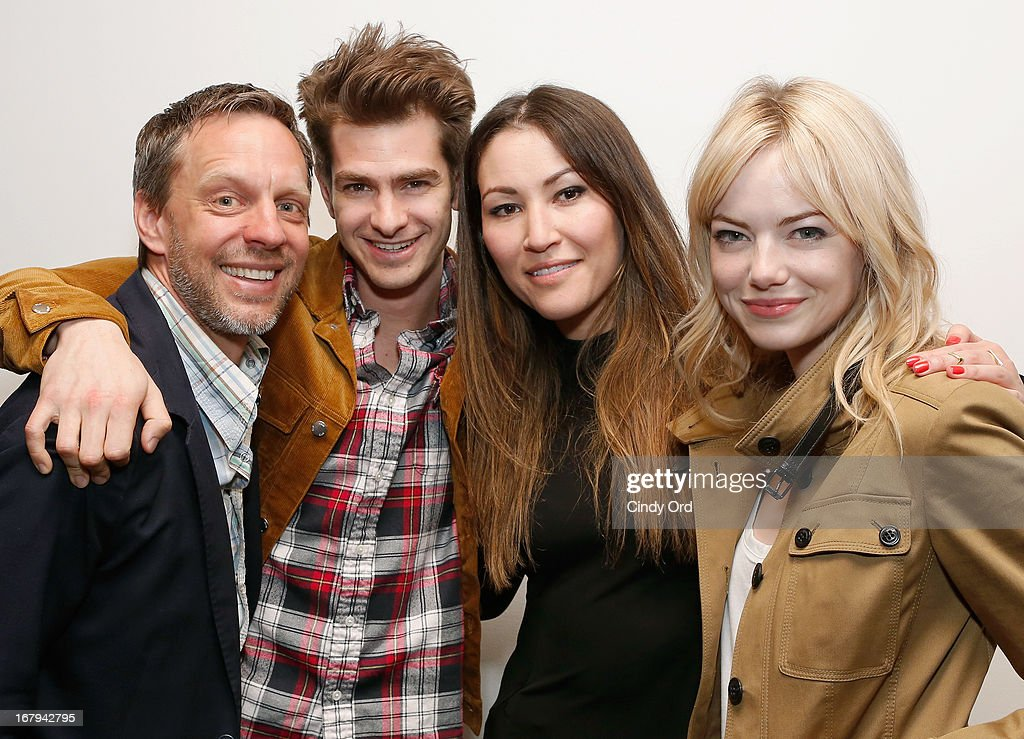 Actors Trevor White, Andrew Garfield, Eleanor Matsuura and Emma Stone attend the Opening Night Of The US Premiere Of 'BULL At Brits' Off Broadway After Party at 59E59 Theaters on May 2, 2013 in New York City.
