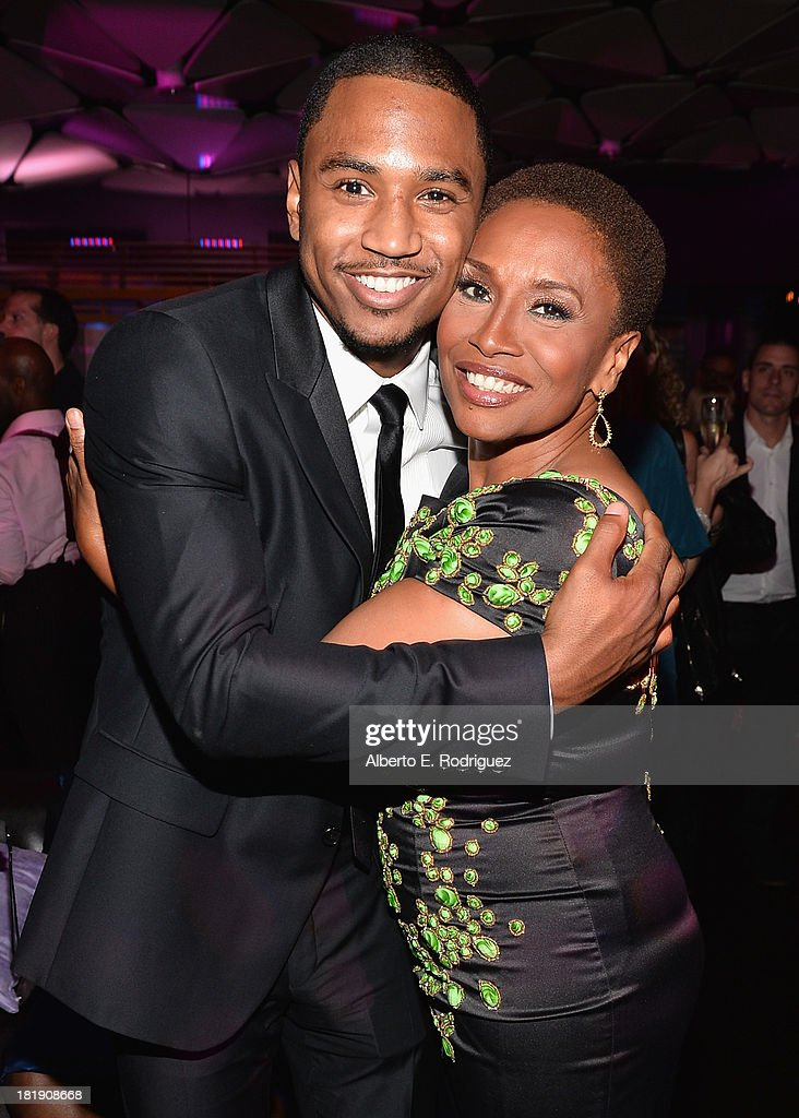 Actors Trey Songz and Jenifer Lewis attend the after party for the premiere of Fox Searchlight Pictures' 'Baggage Claim' at the Conga Room on September 25, 2013 in Los Angeles, California.