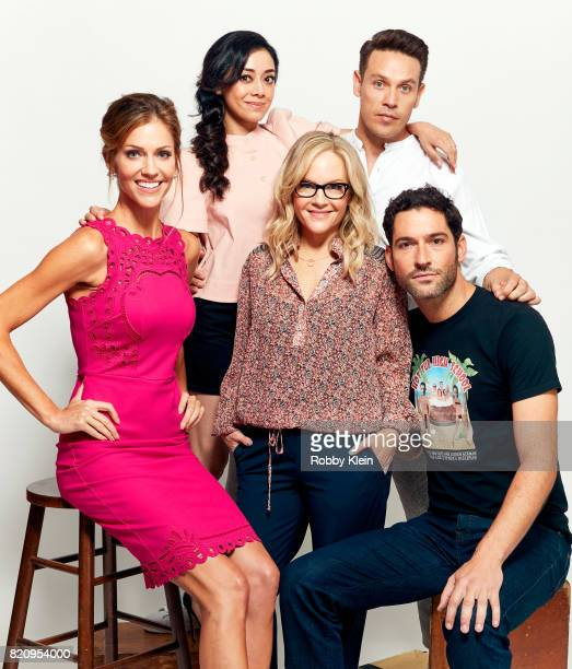 Actors Tricia Helfer Aimee Garcia Rachael Harris Kevin Alejandro and Tom Ellis from Fox's 'Lucifer' pose for a portrait during ComicCon 2017 at Hard...