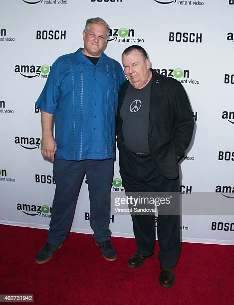 Actors Troy Evans and Abraham Benrubi attend the 'Bosch' premiere screening at The Dome at Arclight Hollywood on February 3 2015 in Hollywood...