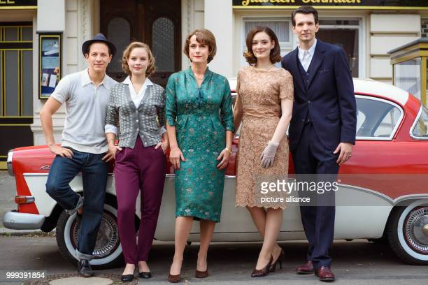 Actors Trystan Putter Emilia Schule Claudia Michelsen Maria Ehrich and Sabin Tambrea standing together for a joint portrait on the set of the ZDF...