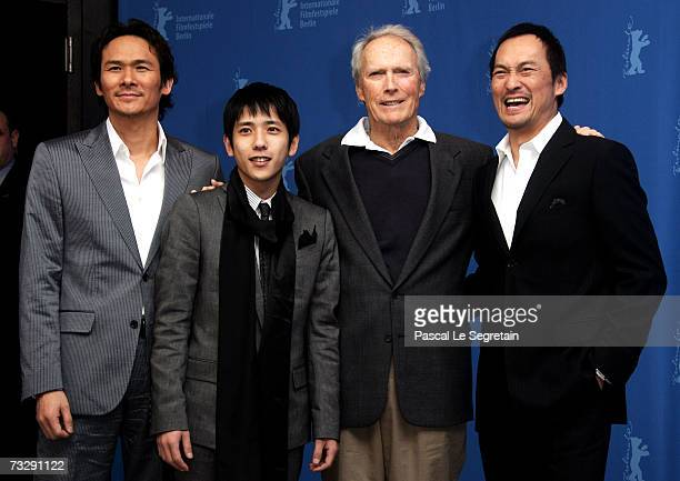 Actors Tsuyoshi Ihara Kazunari Ninomiya director Clint Eastwood and actor Ken Watanabe attend the photocall to promote the movie 'Letters From Iwo...