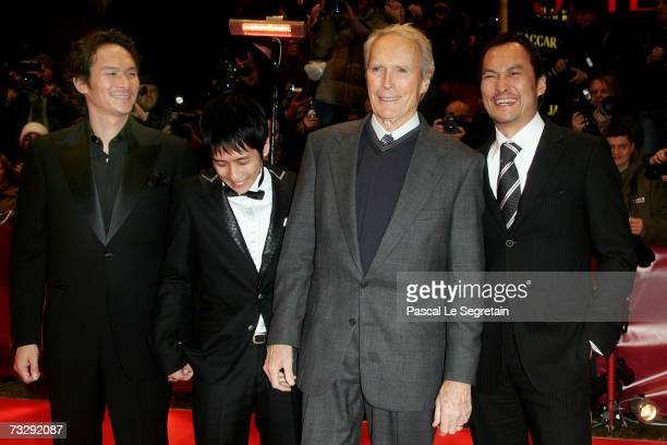 Actors Tsuyoshi Ihara Kazunari Ninomiya director Clint Eastwood and actor Ken Watanabe attend the premiere to promote the movie 'Letters From Iwo...