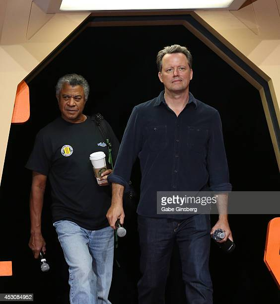 Actors Tucker Smallwood and Steven Culp arrive on stage for the 'Creation CloseUp Enterprise The Xindi Saga' panel at the 13th annual Star Trek...