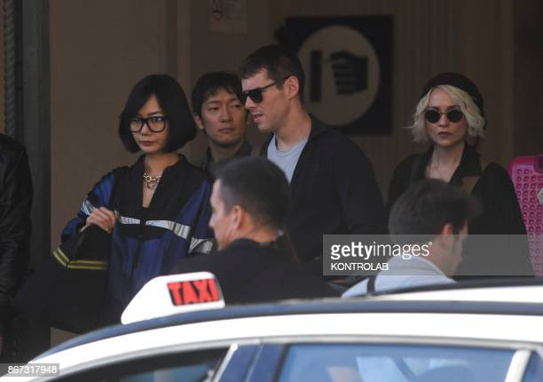 Actors Tuppence Middleton Brian Jacob Smith and Doona Bae on the set of Netflix TV scifi series 'Sense8' in the Station in Naples