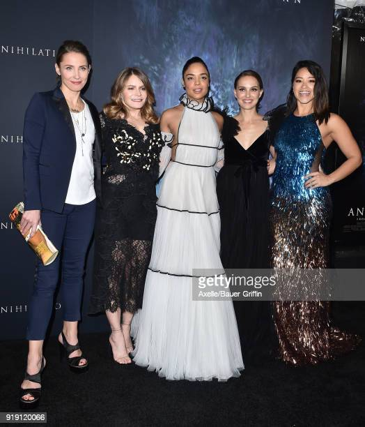 Actors Tuva Novotny Jennifer Jason Leigh Tessa Thompson Natalie Portman and Gina Rodriguez attend the Los Angeles premiere of 'Annihilation' at...