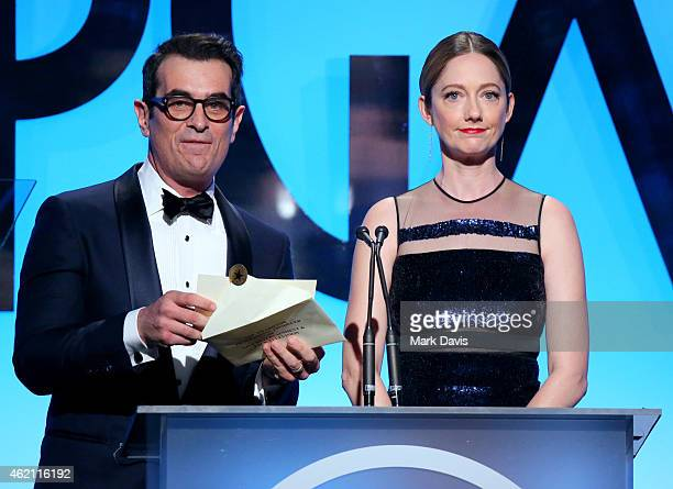 Actors Ty Burrell and Judy Greer speak onstage during the 26th Annual Producers Guild Of America Awards at the Hyatt Regency Century Plaza on January...