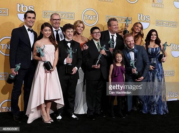 Actors Ty Burrell Ed O'Neill Nolan Gould Julie Bowem Rico Rodriguez Eric Stonestreet Sofía Vergara Ariel Winter and Sarah Hyland and Aubrey...