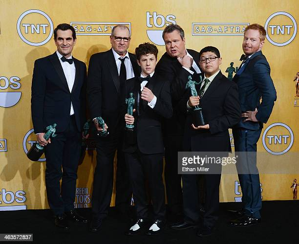 Actors Ty Burrell Ed O'Neill Nolan Gould Rico Rodriguez Eric Stonestreet and Jesse Tyler Ferguson winners of the Outstanding Performance by an...