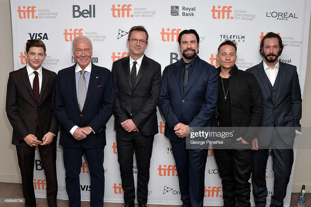 Actors Tye Sheridan, Christopher Plummer, Director Philip Martin, actors John Travolta, Travis Aaron Wade and Bryan Veronneau attend 'The Forger' premiere during the 2014 Toronto International Film Festival at Roy Thomson Hall on September 12, 2014 in Toronto, Canada.