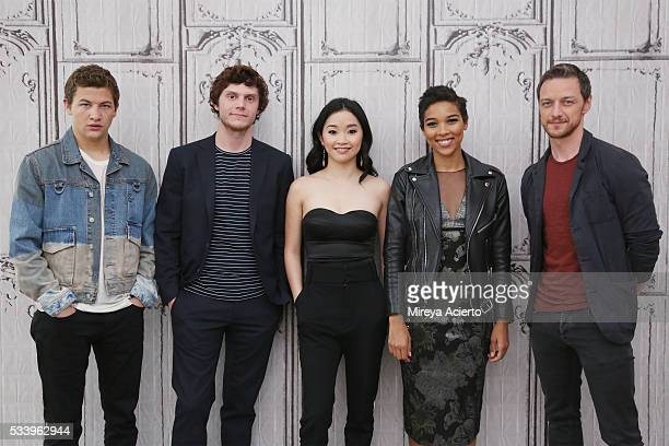 Actors Tye Sheridan Evan Peters Lana Condor Alexandra Shipp and James McAvoy from the movie 'XMen Apocalypse' visit AOL Studios in New York on May 24...