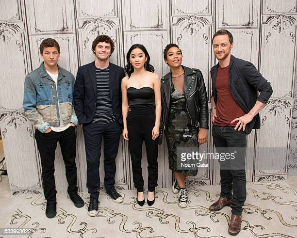 Actors Tye Sheridan Evan Peters Lana Condor and Alexandra Shipp James McAvoy visit AOL Build to discuss 'XMen Apocalypse' at AOL Studios in New York...
