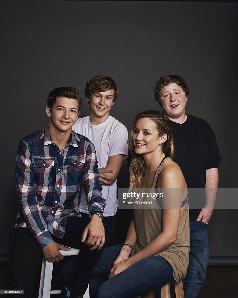 Actors Tye Sheridan, Joey Morgan, Sarah Dumont, and Logan Miller of 'Scouts Guide to the Zombie Apocalypse' for Wonderwall on September 14, 2015 in Los Angeles, California. PUBLISHED