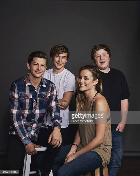 Actors Tye Sheridan Joey Morgan Sarah Dumont and Logan Miller of 'Scouts Guide to the Zombie Apocalypse' for Wonderwall on September 14 2015 in Los...