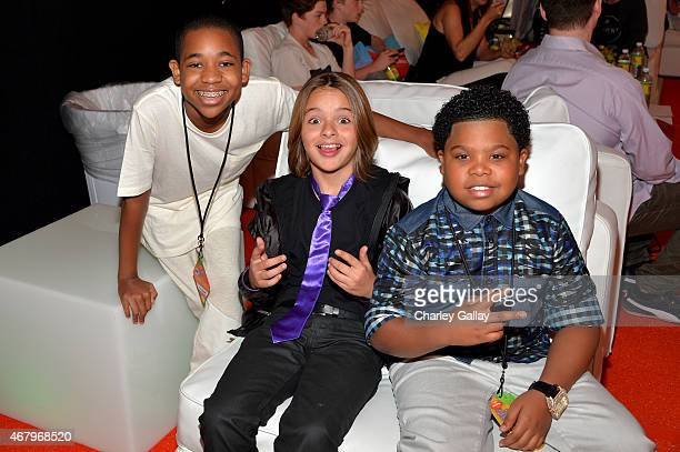 Actors Tylen Jacob Williams Mace Coronel and Benjamin Flores Jr attend Nickelodeon's 28th Annual Kids' Choice Awards held at The Forum on March 28...