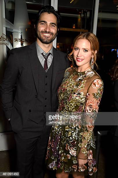 Actors Tyler Hoechlin and Brittany Snow attend HBO's Official Golden Globe Awards After Party at The Beverly Hilton Hotel on January 11, 2015 in...