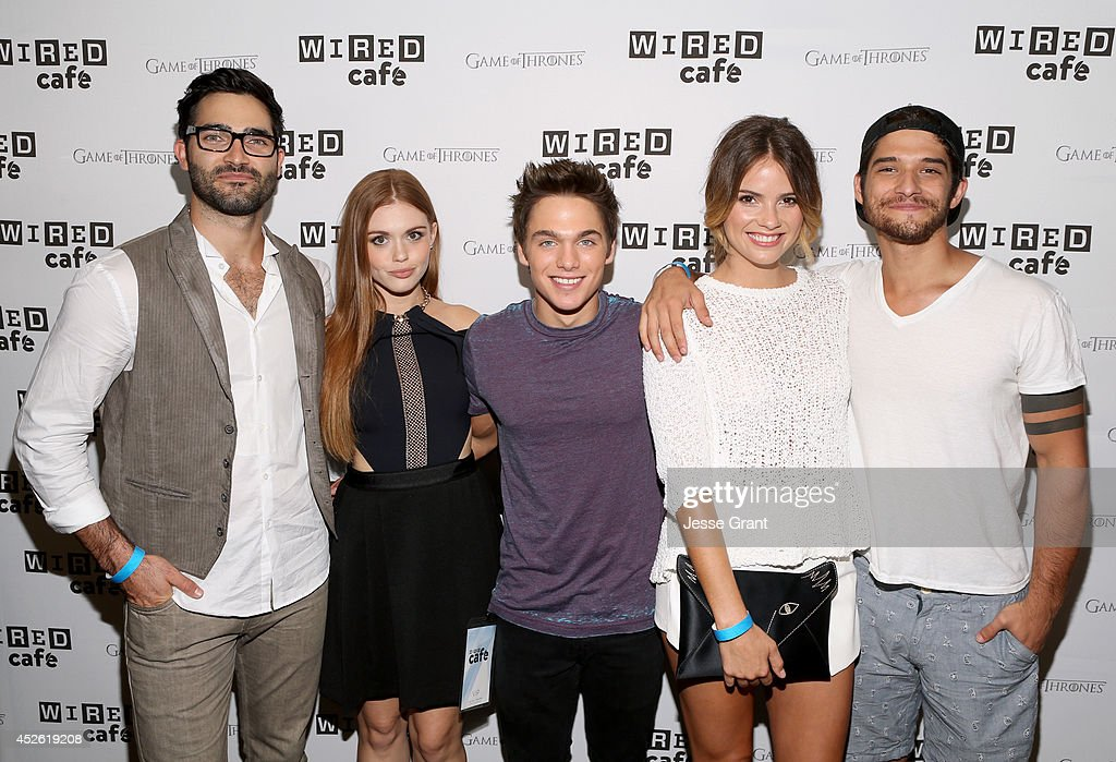 Actors Tyler Hoechlin, Holland Roden, Dylan Sprayberry, Shelley Hennig, and Tyler Posey attend day 1 of the WIRED Cafe @ Comic Con at Omni Hotel on July 24, 2014 in San Diego, California.