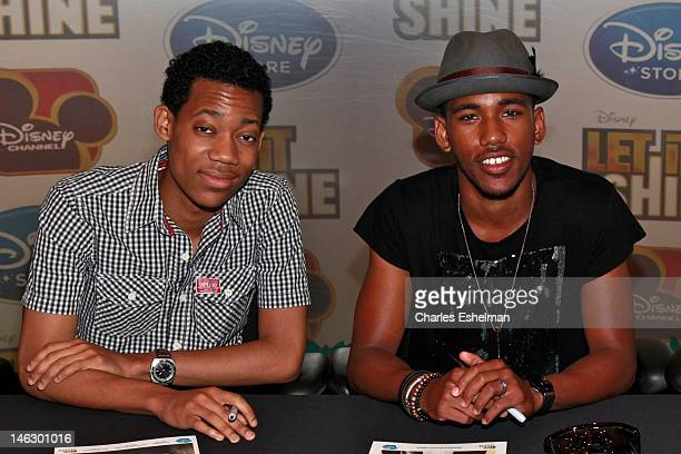 """Actors Tyler James Williams and Brandon Mychal Smith attend Disney Channel's """"Let It Shine"""" Cast Autograph Signing Disney Store on June 13, 2012 in..."""