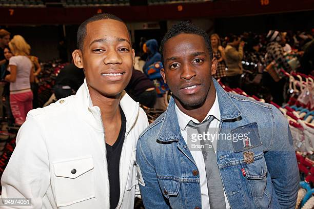 Actors Tyler James Williams and Elijah Kelley attend Christmas In The City Charity Toy Drive at LA Sports Arena on December 20 2009 in Los Angeles...