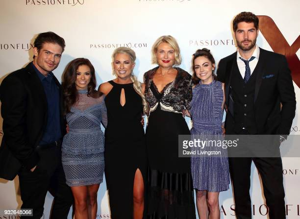 Actors Tyler Johnson and Justene Alpert author Rachel Van Dyken filmmaker Tosca Musk and actors Caitlin Carver and Nick Bateman attend the world...