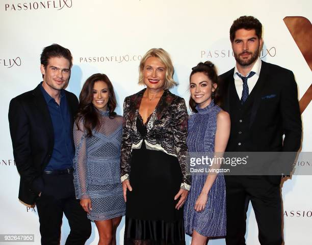 Actors Tyler Johnson and Justene Alpert filmmaker Tosca Musk and actors Caitlin Carver and Nick Bateman attend the world premiere of 'The...
