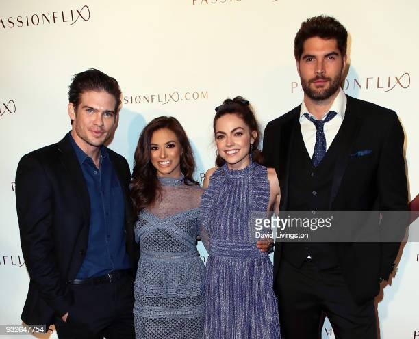 Actors Tyler Johnson Justene Alpert Caitlin Carver and Nick Bateman attend the world premiere of 'The Matchmaker's Playbook' at the Charlie Chaplin...