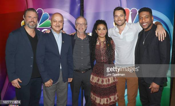 Actors Tyler Labine Anupam Kher Dr Eric Manheimer actors Ryan Eggold and Jocko Sims attend the NBC Fall New York Junket at Four Seasons Hotel New...