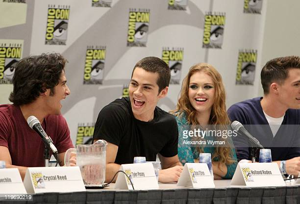 Actors Tyler Posey Dylan O'Brien Holland Roden and Colton Haynes speak at MTV's Teen Wolf panel at ComicCon 2011 held at the San Diego Convention...