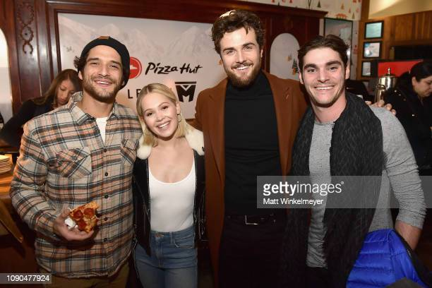 Actors Tyler Posey Kelli Berglund Beau Mirchoff and RJ Mitte of 'Now Apocalypse' attend the Pizza Hut Lounge during the 2019 Sundance Film Festival...