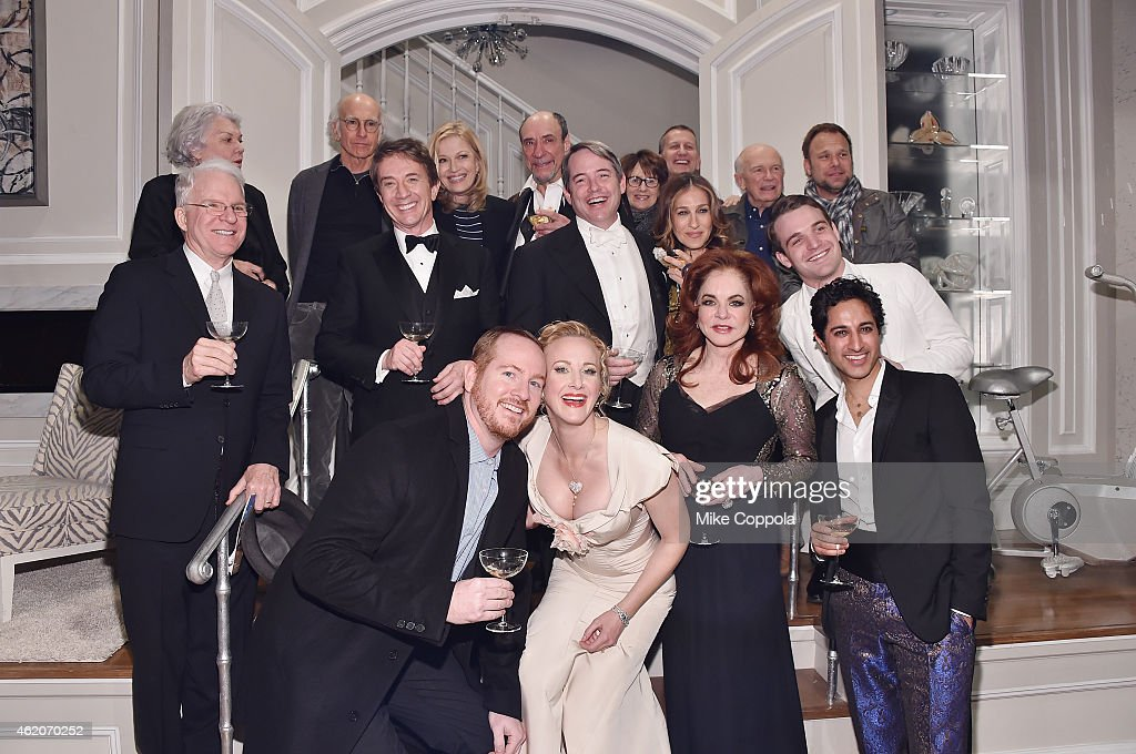 Actors Tyne Daly, Larry David, Diane Sawyer, F. Murray Abraham, Delia Ephron, director Tom Kirdahy, playwright Terrence McNally, actor Norbert Leo Butz, (2nd Row L-R) Actor/comedian Steve Martin, Martin Short, Matthew Brodereick, Sarah Jessica Parker, Micah Stock, (3rd row L-R) Darren Goldstein, Katie Finneran, Stockard Channing, and Maulik Pancholy pose for a group picture backstage at 'It's Only A Play' Broadway Re-Opening Night at The Bernard B. Jacobs Theatre on January 23, 2015 in New York City.