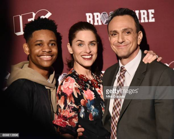 Actors Tyrel Jackson Williams Amanda Peet and Hank Azaria attend the Brockmire red carpet event at 40 / 40 Club on March 22 2017 in New York City