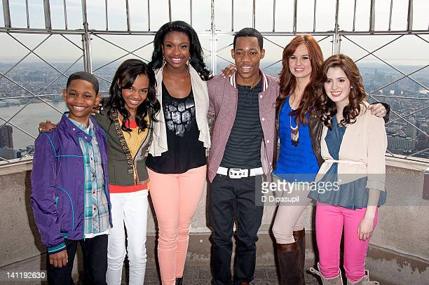 Actors Tyrel Jackson Williams China Anne McClain Coco Jones Tyler James Williams Debby Ryan and Laura Marano visit The Empire State Building on March...