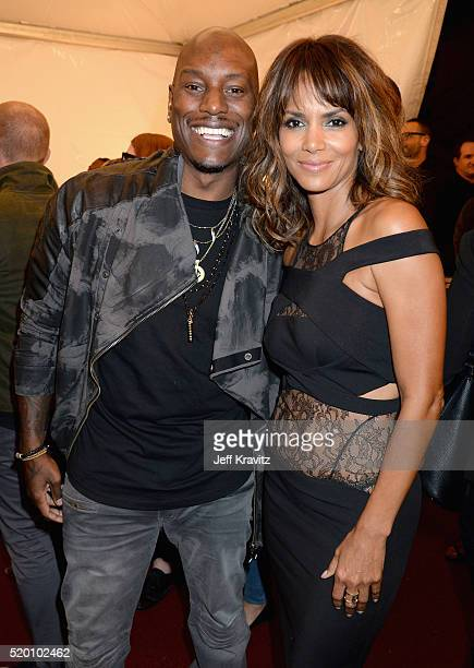 Actors Tyrese Gibson and Halle Berry attend the 2016 MTV Movie Awards at Warner Bros Studios on April 9 2016 in Burbank California MTV Movie Awards...