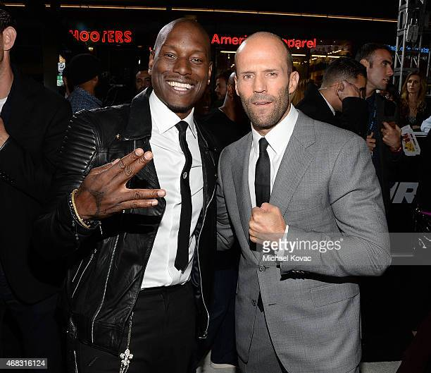 Actors Tyrese Gibson and Jason Statham attend the Furious 7 Los Angeles Premiere Sponsored by Dodge at TCL Chinese 6 Theatres on April 1 2015 in...