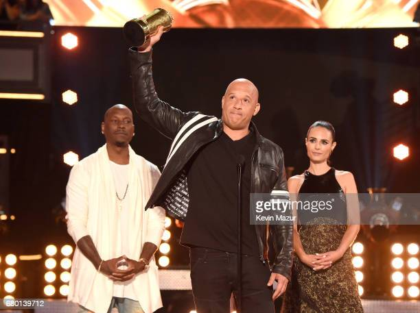 Actors Tyrese Gibson Vin Diesel and Jordana Brewster accept the MTV Generation Award on behalf for 'The Fast and the Furious' franchise onstage...