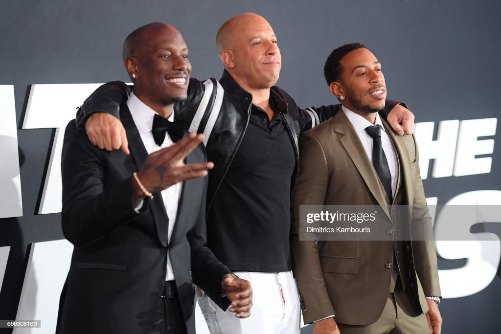 Actors Tyrese Gibson, Vin Diesel and Ludacris attend 'The Fate Of The Furious' New York Premiere at Radio City Music Hall on April 8, 2017 in New York City.