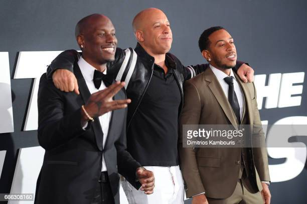 "Actors Tyrese Gibson, Vin Diesel and Ludacris attend ""The Fate Of The Furious"" New York Premiere at Radio City Music Hall on April 8, 2017 in New..."